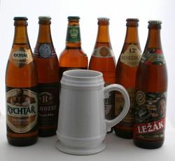 Česká pivní sada s keramickým půllitrem